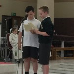 James and Kian deliver a reading at the mass celebrating the new school year for our Pastoral Area Schools.